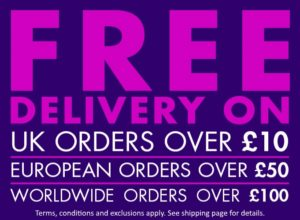 free delivery on uk orders over £10.00 European over £50.00 worldwide over £100.00
