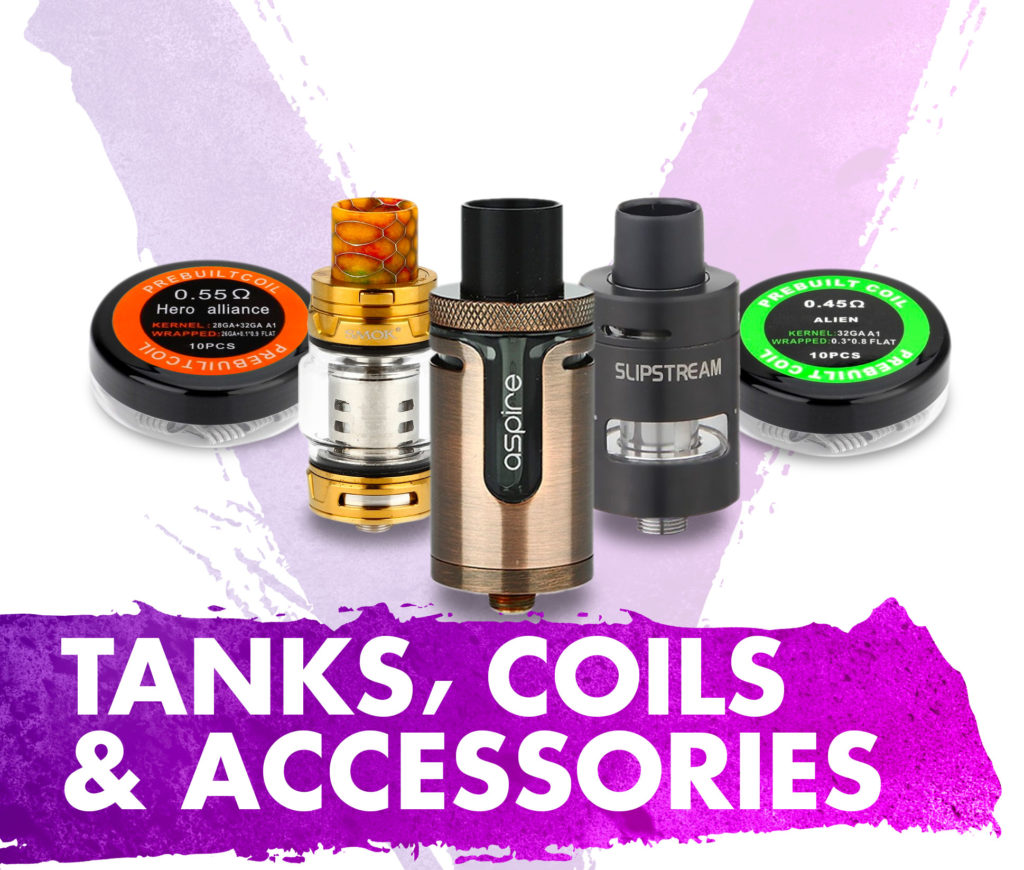 Tanks coils and accessories for vaping